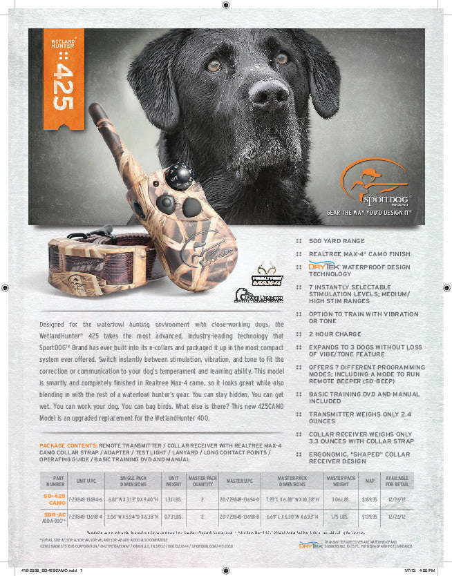 SportDOG Brand® WetlandHunter® 425 Sales Sheet