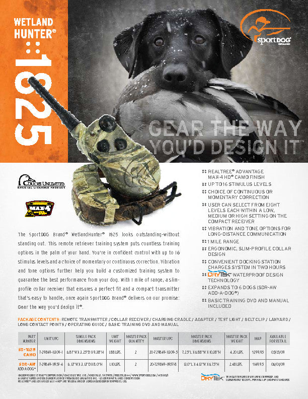 SDR-AW Add-A-Dog® Receiver Sales Sheet
