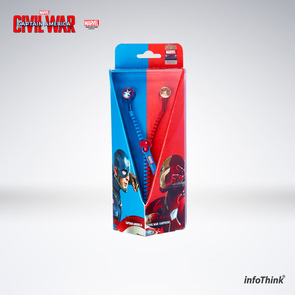 Captain America: Civil War Zipper Earphone , InfoThink X Marvel - Fantasyusb Store