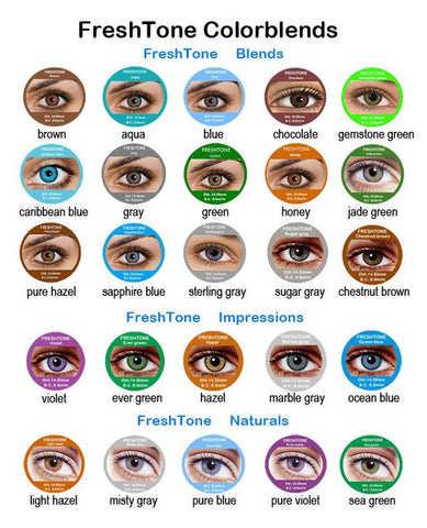 Freshtone Color Contacts Color Chart