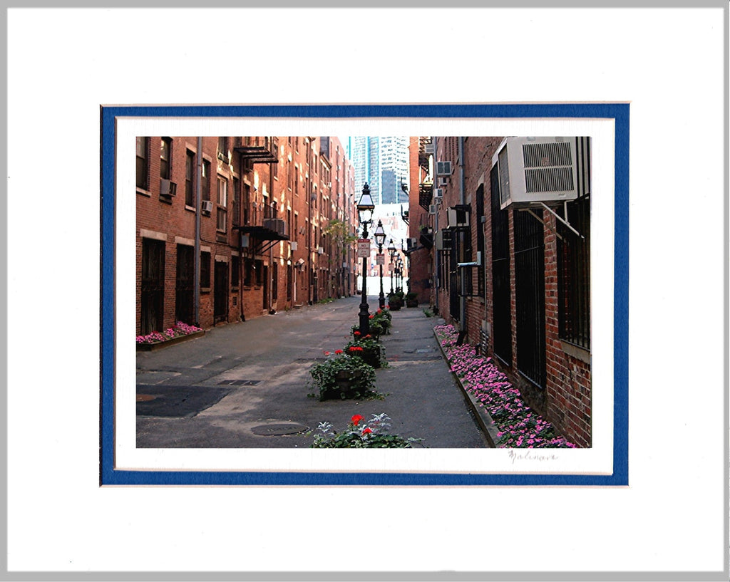 Alleyway in Bloom, Boston's North End, Matted Print