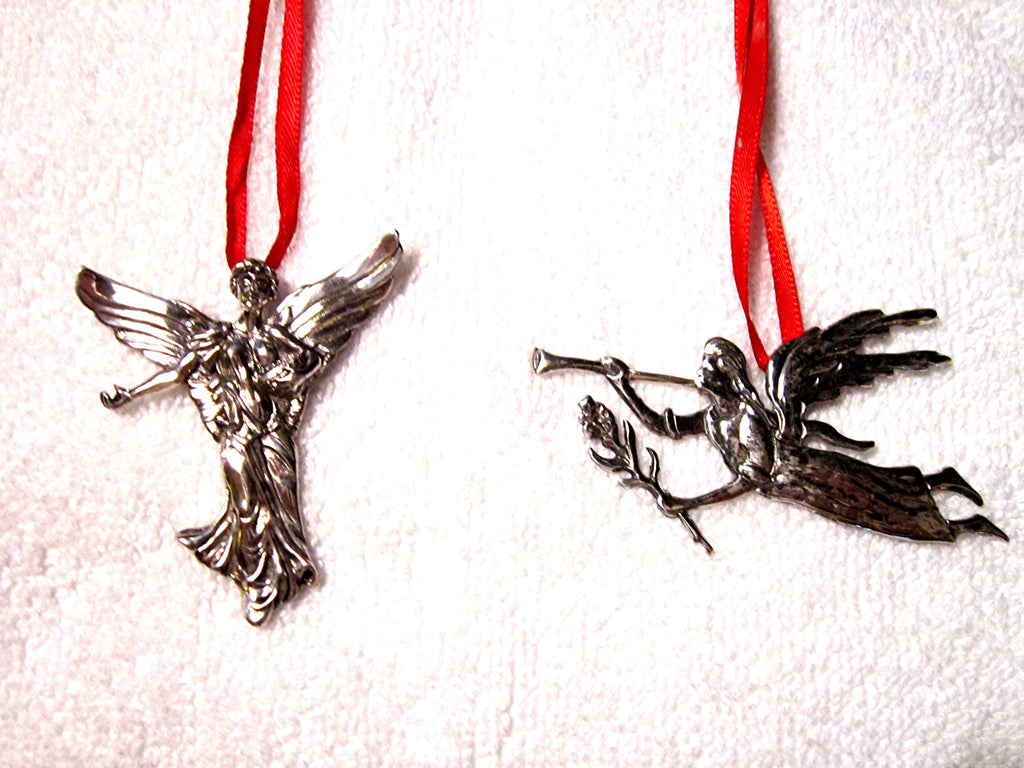 Standing Angel and Angel with Trumpet Sterling Silver Christmas Tree Ornaments