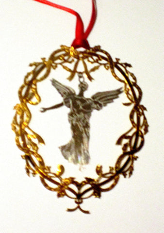 "Vintage Goldplate Christmas Ornament, "" Angel in Wreath""."