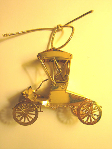 Vintage Goldplate Christmas Ornament, Antique Autumobile