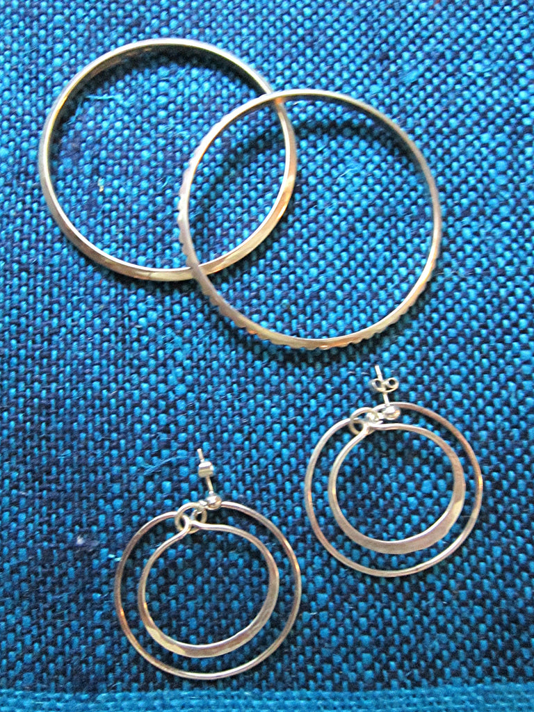 Norwegian Handcrafted Mid Century Sterling Silver Bangles and Earrings