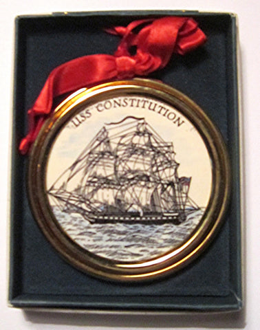 "Vintage Goldplate Christmas Ornament, "" USS Constitution"""