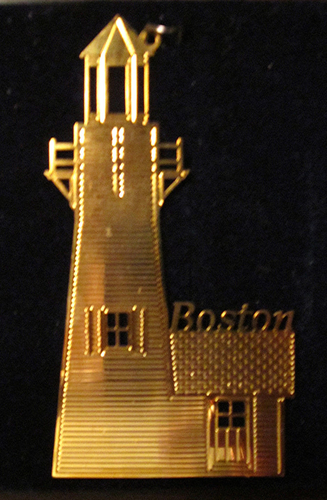 "Vintage Goldplate Christmas Ornament, ""Boston Light"""