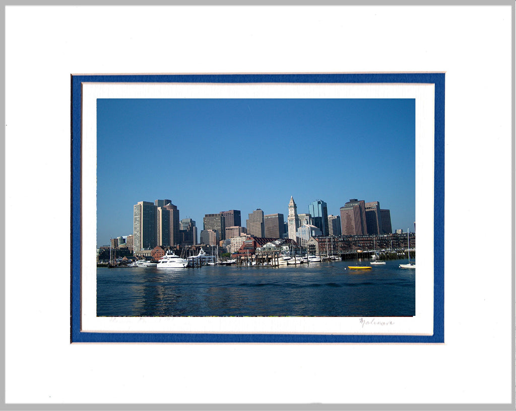 Boston Viewed from the Harbor Matted Print