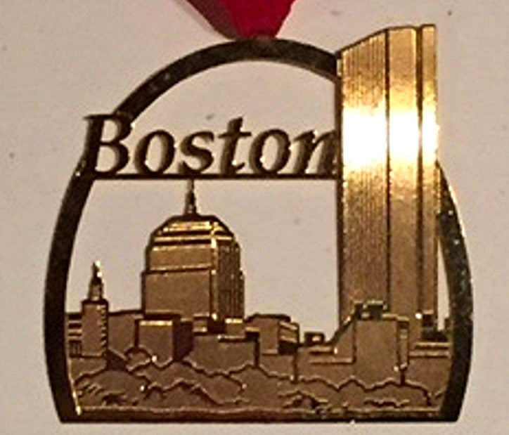 "Vintage Goldplate Christmas Ornament, "" Boston Skyline""."