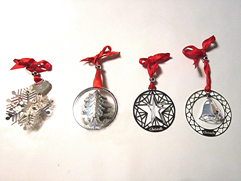 Christofle Silverplate Vintage Christmas Ornaments, 1986, 1987, 1988 and 1989. Made in France