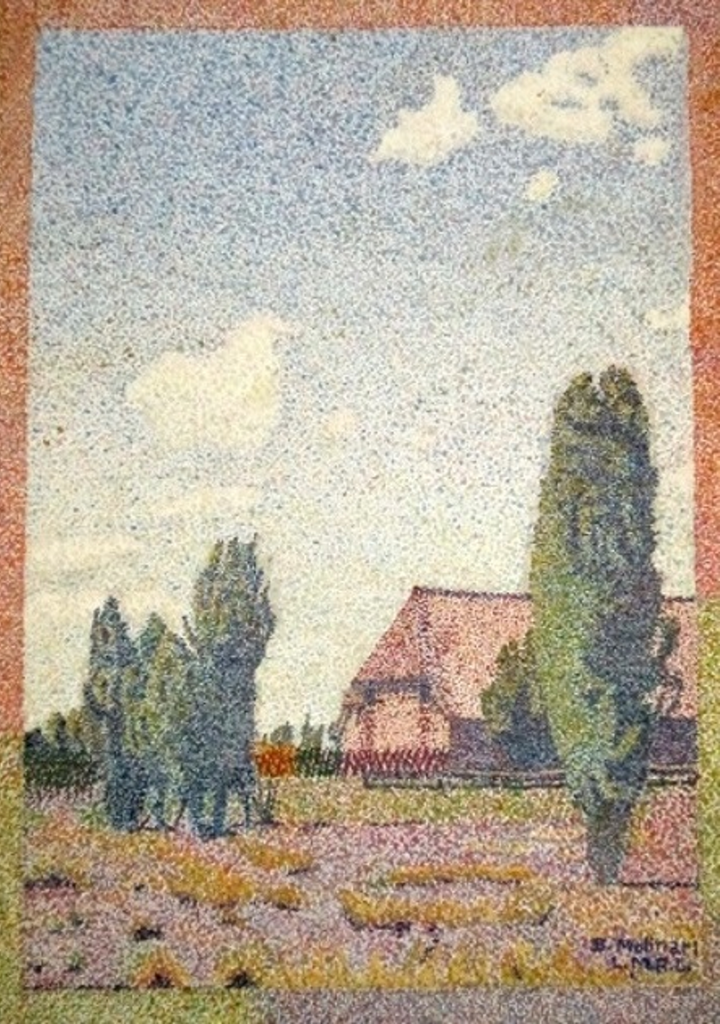 Barn with Cypress Trees