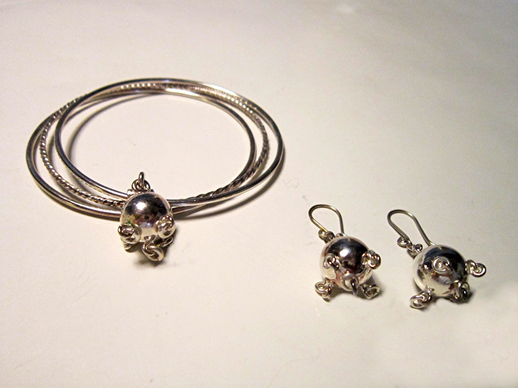Vintage Sterling Silver Danish Bangles with ball and Pierced Ball Earrings