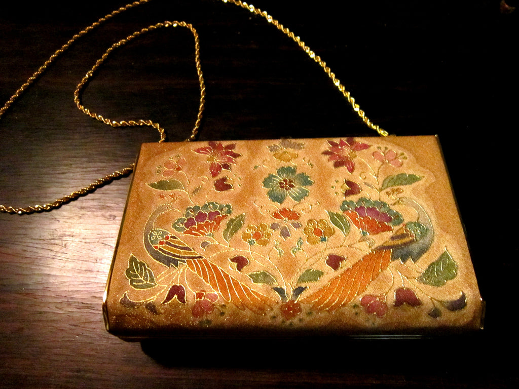 Estate Japanese silk evening bag with gold plated fittings and shoulder chain. Made in Kyoto, Japan