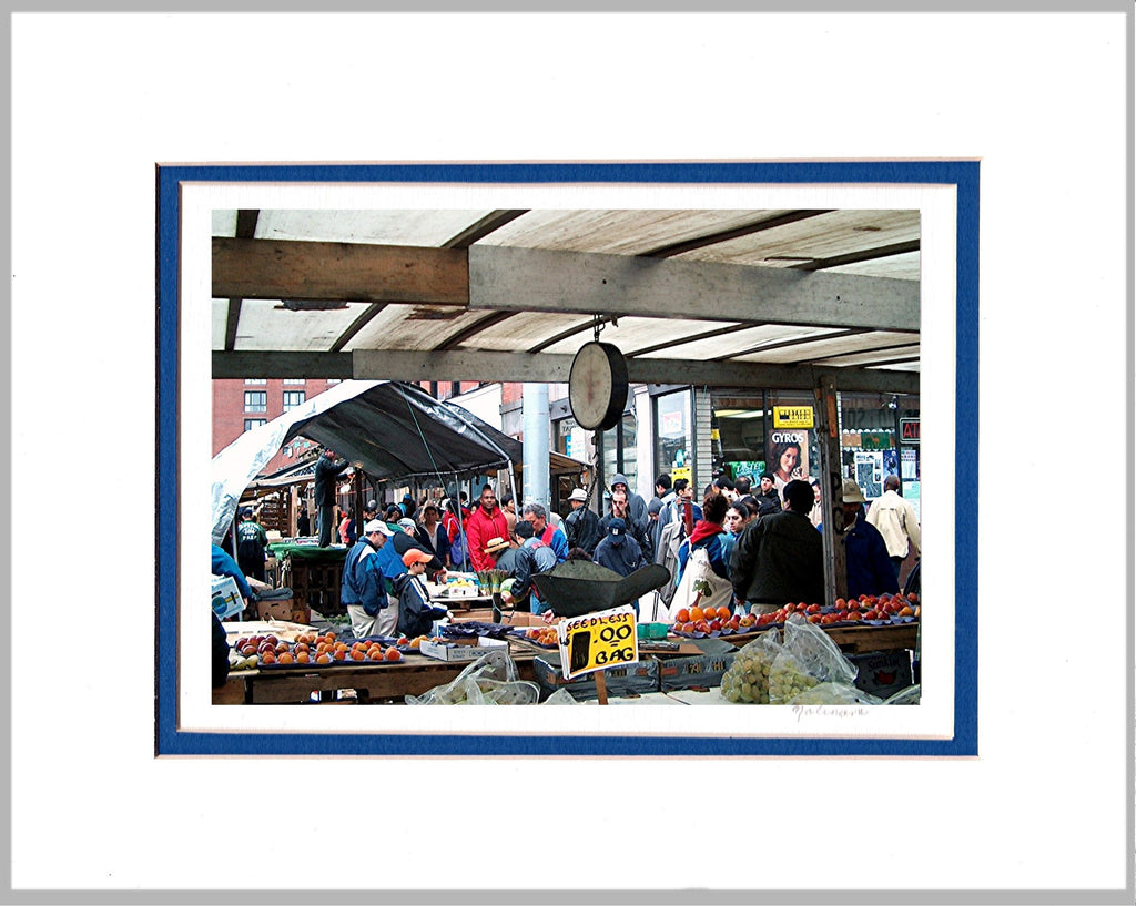 Haymarket Vendors, Boston's North End, Matted Print
