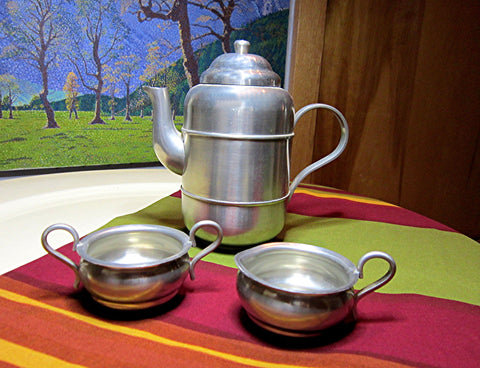 Danish Three piece coffee set, Mid Century Vintage (unused) Made by Lysgaard Tin Ballum