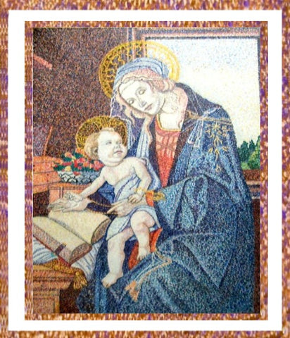 Madonna of the Book by Botticelli reproduced in Pointillism