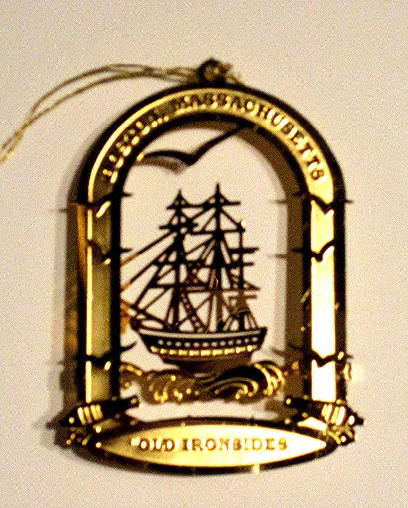 "Vintage Goldplate Christmas Ornament, ""Old Ironsides"" U.S.S. Constitution"
