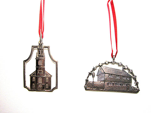 Old North Church and Paul Revere House Sterling Silver Christmas Tree Ornaments