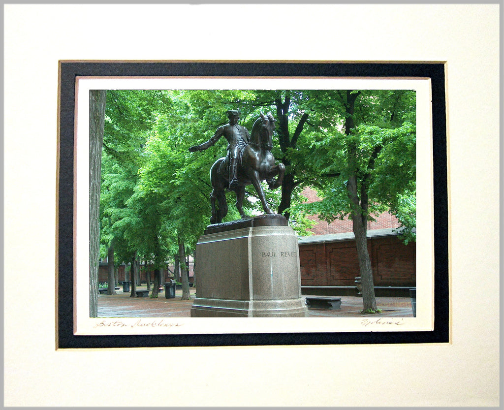 Paul Revere Statue, Boston Matted Print