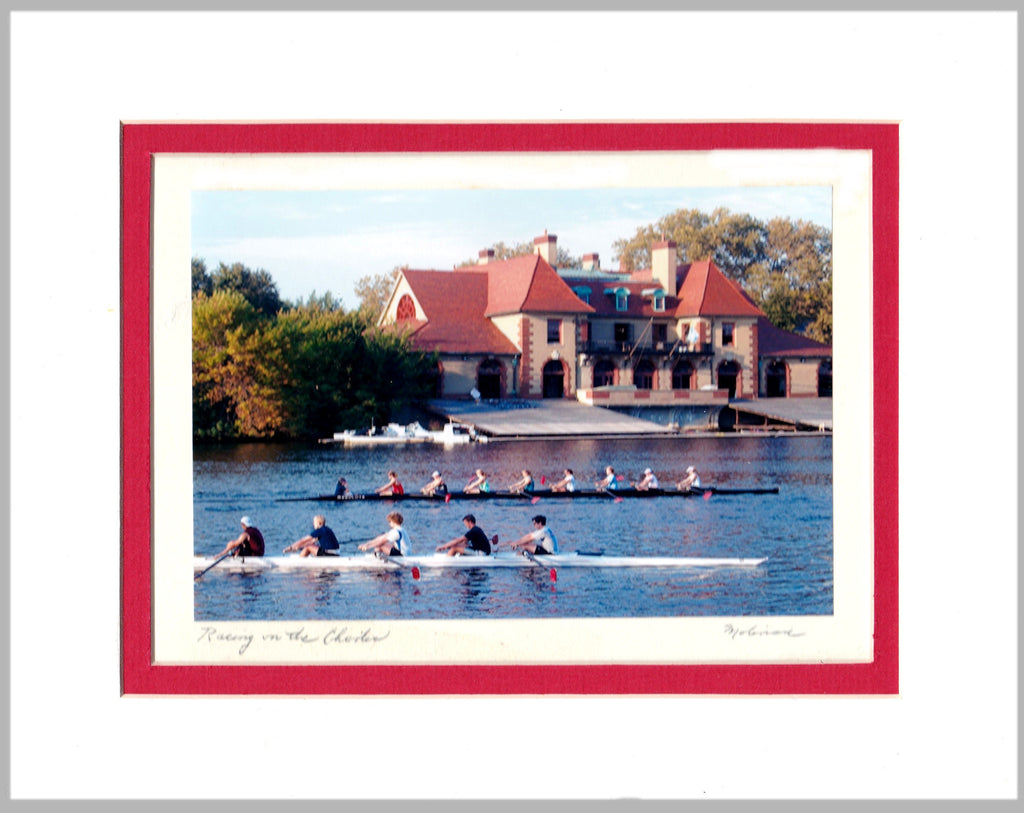 Racing on the Charles Matted Print