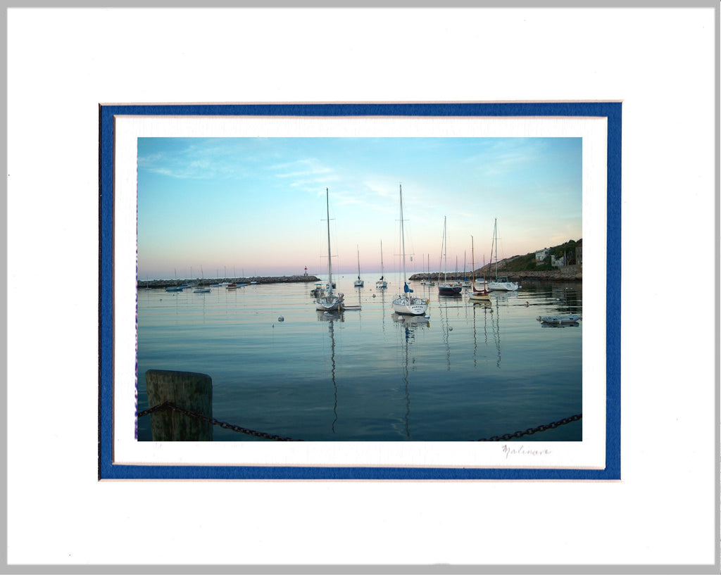Rockport Harbor at Sunset Matted Print
