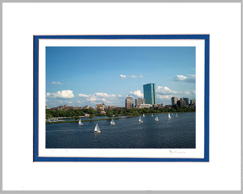 Sailing on the Charles Matted Print