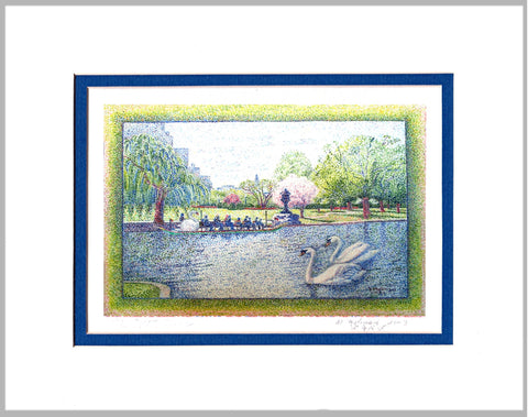 Springtime in Public Garden Boston Matted Print