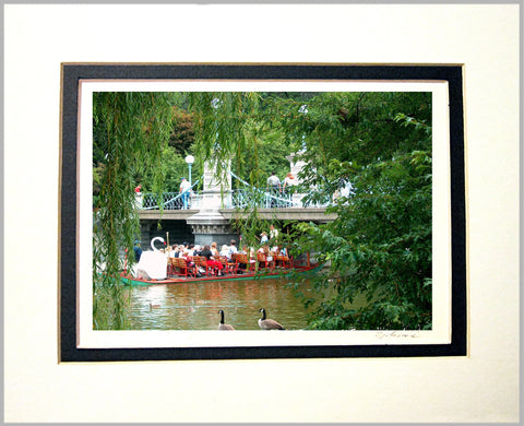 Swan Boat on Lagoon Matted Print