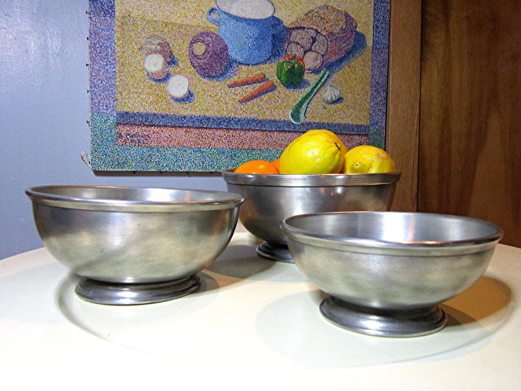 Swedish handspun Mid Century Vintage pewter bowls made by Scandia Present