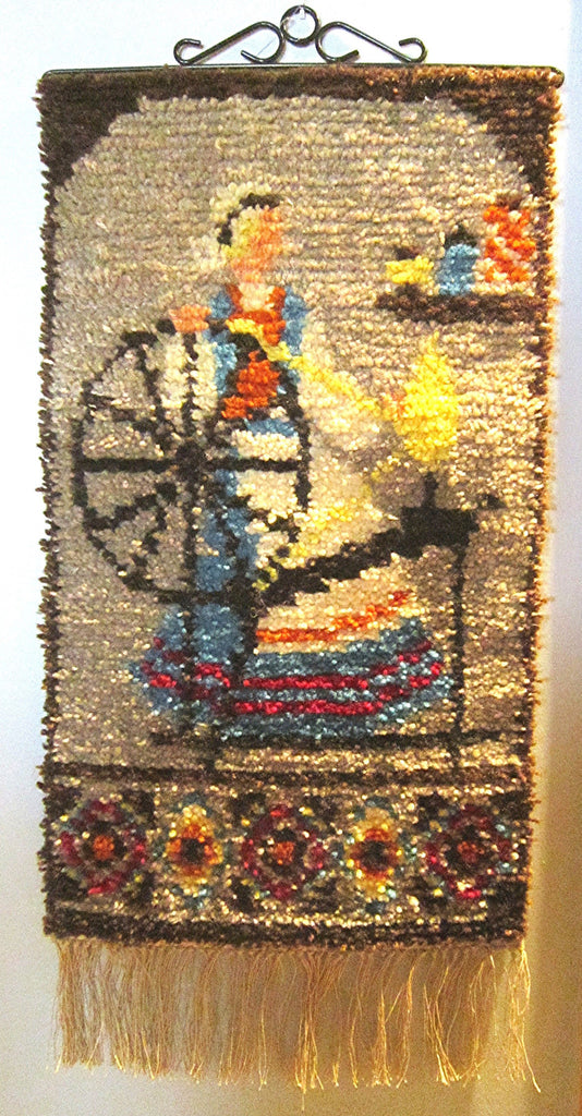 Swedish Mid Century wool tapestry, hand hooked. Title: Swedish Weaver