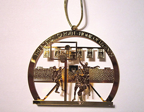 "Vintage Goldplate Christmas Ornament, "" Boston Garden"". festuring the Boston Celtics"