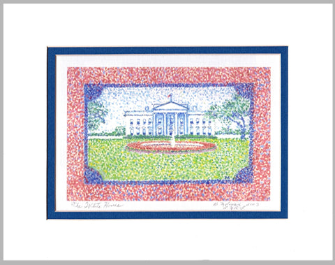 White House Matted Print