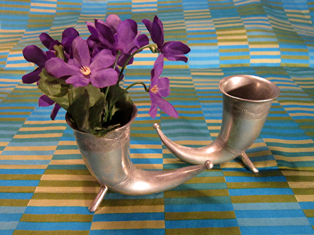 Norwegian Miniature Viking Drinking Horns, Mid Century Vintage Cast Pewter by Handstopt