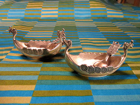 Norwegian Long Boat Open Salts with spoons decorated with shields, Mid Century Vintage Cast Pewter by Handstopt