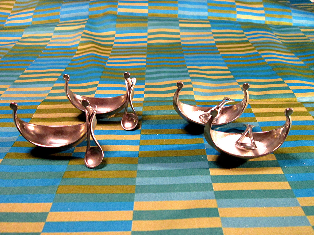 Norwegian Long Boat Open Salts with spoons Mid Century Vintage Cast Pewter by Handstopt