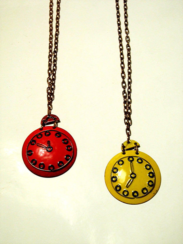 Finnish Enamel on copper Mid Century Vintage Decorative Watch Pendants by Tammer Tukku
