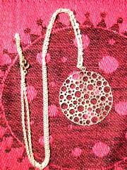 Sterling Silver Mid Century Pendant 2'' diameter. Sterling Silver chain, 13 1/2''.