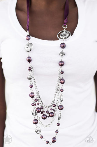 All The Trimmings - Purple Ribbon Pearly Beads Blockbuster Paparazzi Jewelry Necklace paparazzi accessories jewelry Necklaces