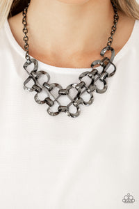 Paparazzi Jewelry & Accessories Work, Play, and Slay Gunmetal Necklace - Bling By Titia
