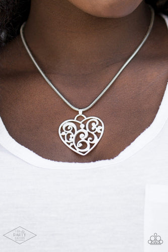 Paparazzi Jewelry & Accessories - FILIGREE Your Heart With Love - Silver Necklace. Bling By Titia Boutique