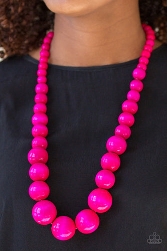 Effortlessly Everglades - Pink Wooden Paparazzi Jewelry Necklace paparazzi accessories jewelry Necklaces