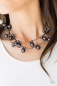 Wedding BELLES - Black Gunmetal Pearl Bead Paparazzi Jewelry Necklace paparazzi accessories jewelry Necklaces