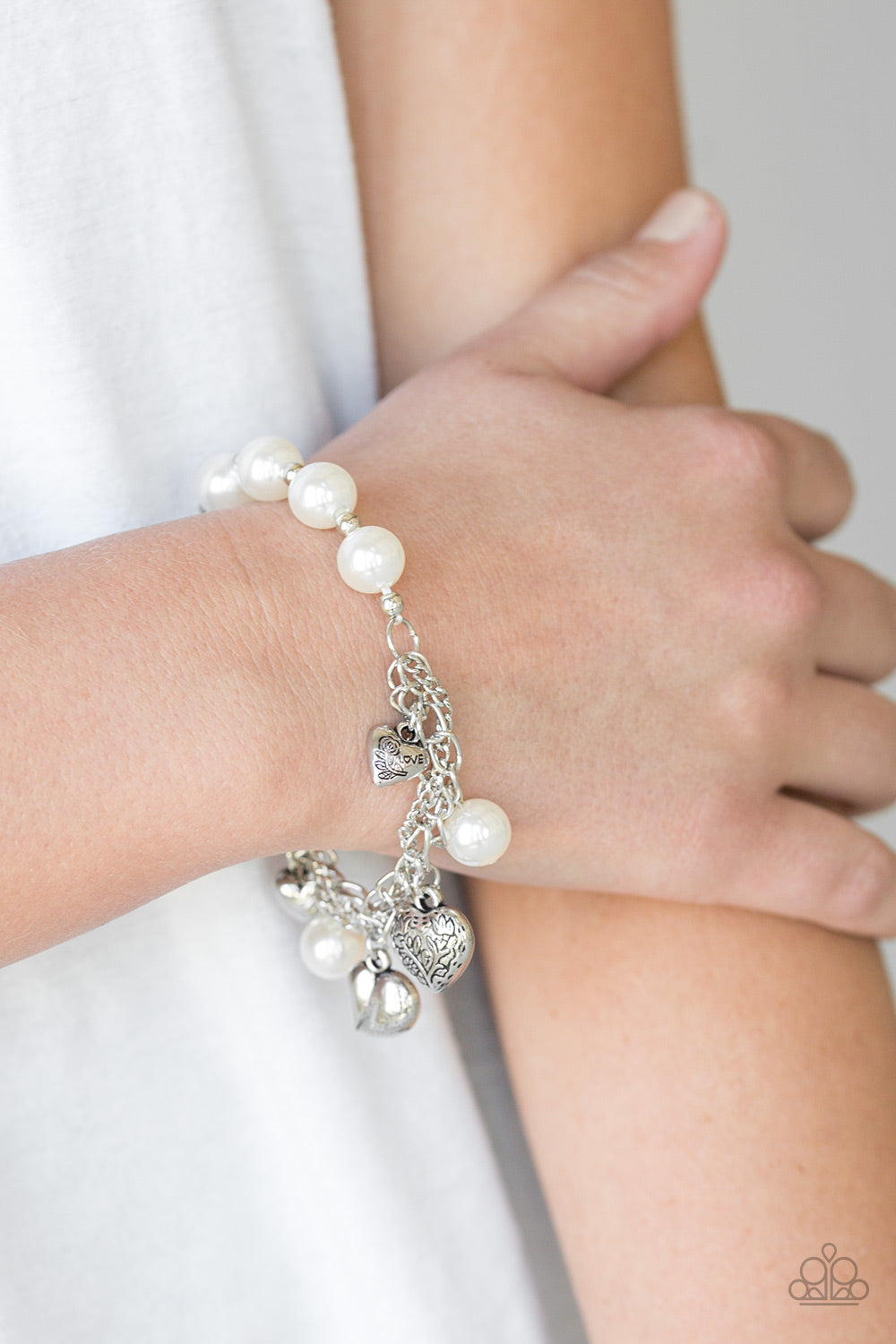 Paparazzi Accessories - More Amour - White Bracelet