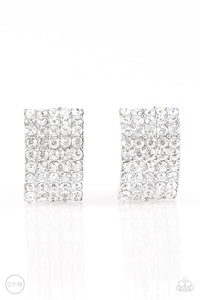 Paparazzi Jewelry & Accessories - Hollywood Hotshot - White Rhinestone Clip-on Earrings. Bling By Titia Boutique