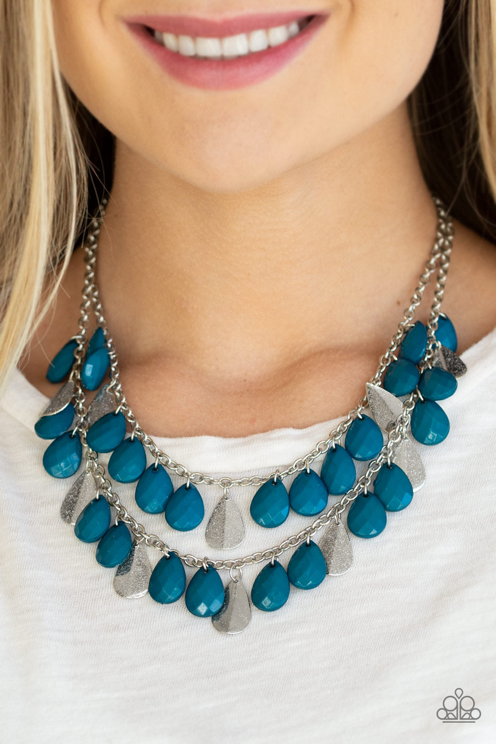 Life Of The FIESTA - Blue Bead Teardrop Paparazzi Jewelry Necklace paparazzi accessories jewelry Necklaces