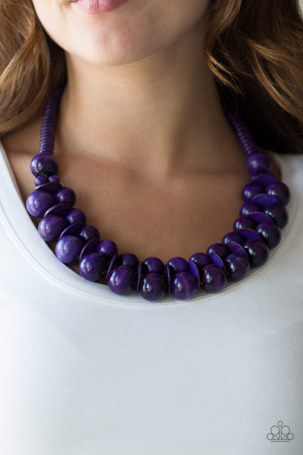 Caribbean Cover Girl - Purple Wooden Beads Paparazzi Jewelry Necklace paparazzi accessories jewelry Necklaces