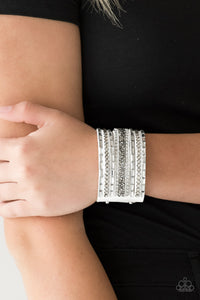 Paparazzi Jewelry & Accessories - Rhinestone Rumble - White Bracelet. Bling By Titia Boutique