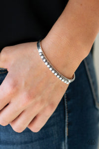 New Age Traveler - Silver and White Bead Paparazzi Jewelry Bracelet paparazzi accessories jewelry Bracelet
