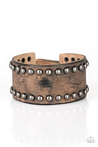 Paparazzi Jewelry & Accessories - Cattle Drive - Brown Leather Bracelet. Bling By Titia Boutique