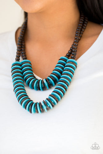 Dominican Disco - Blue and Brown Wooden Bead Paparazzi Jewelry Necklace paparazzi accessories jewelry Necklaces